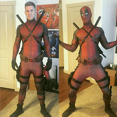 Avengers Deadpool 3D Print Tight Coverall Overall Cosplay Costume + Hood