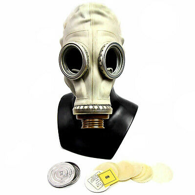 Soviet russian military Gas mask GP-5 + anti-fog Grey rubber New, Nos Size Large