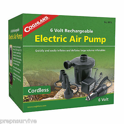 Rechargeable 12/120 V Large Volume Electric Air Pump,charge Runs 20 Min Deflates
