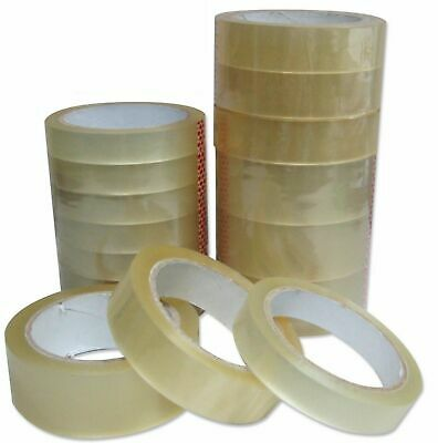 "CLEAR STRONG TAPE PACKAGING ROLLS PARCEL PACKING SELLOTAPE 1"" 24mm x66m CELOTAPE"