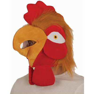 Rooster Head Chicken Hat Face Mask Adult Costume Plush Velvet Funny