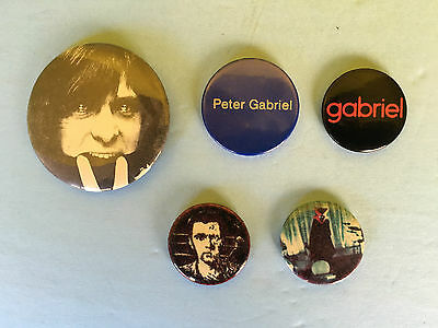 PETER GABRIEL BUTTON COLLECTION 5 Pieces All Original From The 1980's!!