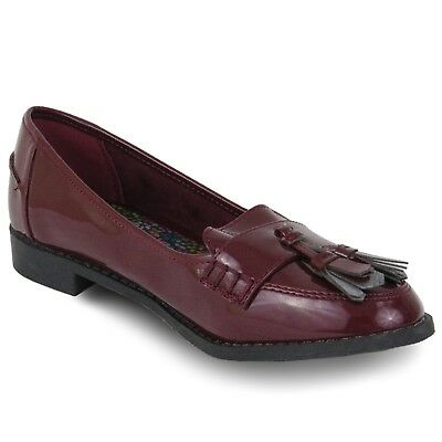 Ex Store Womens Ladies Girls Patent Leather Shoes Loafers Burgundy Size 4-5