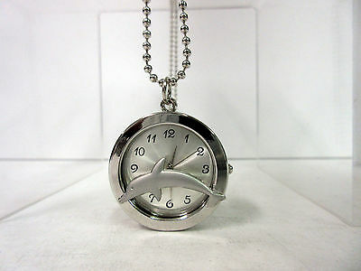 New Dolphin Silver Dial Necklace Chain Watch Dolphins