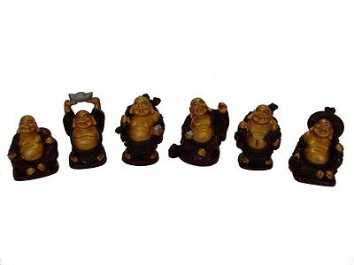 Grade A Set of 6 Chinese Laughing Happy Buddha Statues Figurines