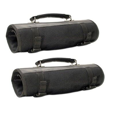 Lot of 2 Black Knife Roll Case Pouch w/ Swing Handle Up to 48 Knives CKR2