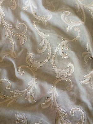 LEE JOFA Linen Embroidery natural leaves new 1+ yards