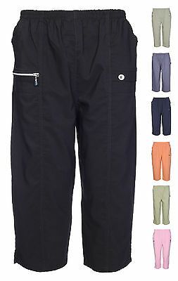 Womens Ladies Elasticated 3/4 Shorts Capri Cropped Trouser Pockets Stretch Pants