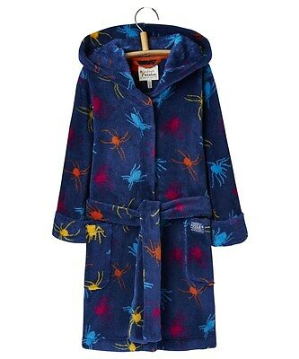 JOULES Roban Spider Fleecy Dressing Gown Age 3 - 4, 7 -8 & 9 - 10 FreeUKP&P