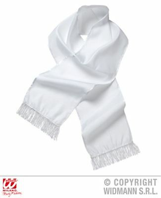 New White Satin Scarf Book Week Gangster Fancy Dress All Occasions Unisex 9148S