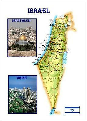Israel Country Map New Postcard