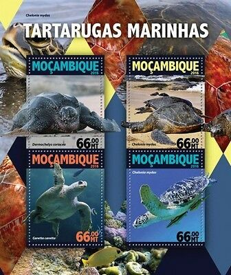 Z08 IMPERFORATED MOZ16110a MOZAMBIQUE 2016 Turtles MNH