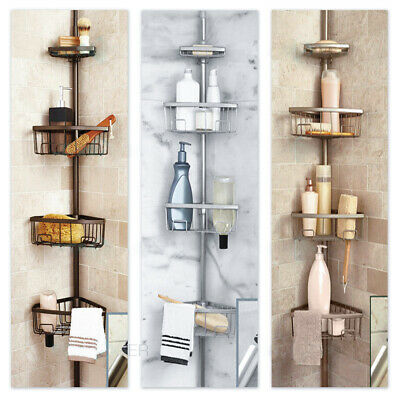 Luxury Telescopic Metal Spring Tension Pole 4 Shelf Corner Bathtub Shower Caddy