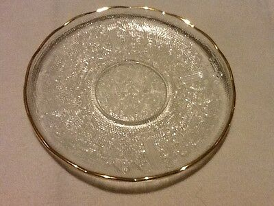 Jeannette Glass Harp Crystal Saucer Gold Trim Mint Cond