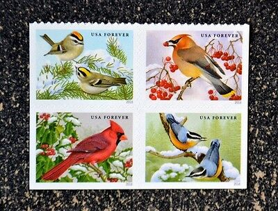 2016USA #5126-5129 Forever Songbirds in the Snow  Block of 4 Mint birds cardinal