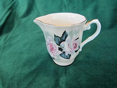 "Royal Grafton Anemone China 3 1/4"" Creamer Elegant Pink Roses"