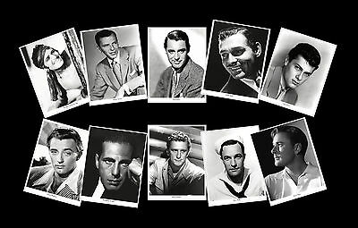 Vintage Male Stars of the Silver Screen images on Postcards, Set of Ten.