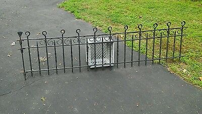 Antique Victorian Wrought Iron Fence Panel rare 24 inch high