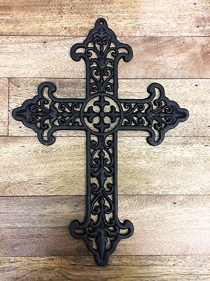 Large Cast Iron CROSS Wall Art Decorative Black Metal 43.cm High Home Decor