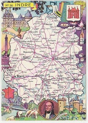 CPSM CARTE GEOGRAPHIQUE DEPARTEMENT INDRE  Edt Blondel La Rougery n2