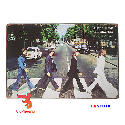 THE BEATLES Abbey Road 1969 Metal Sign Sew Iron Patch Black Home Decor Wall Tin