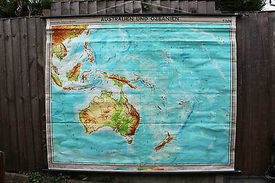 Vintage Pull Down Roll Down School Map Of Australia & Oceania Pacific Islands