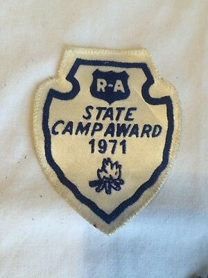 Vintage 1971 Patch State Camp Award Small R A Campfire Blue Sew On Cloth