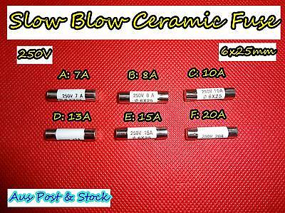 Ceramic Slow Blow Fuse Microwave Oven MWO 250V, 7,8,10,13,15,20A 6x25mm (A204)