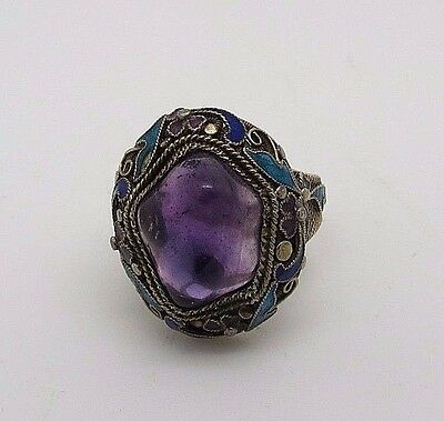 ANTIQUE CHINESE STERLING SILVER FILIGREE ENAMEL AMETHYST RING size 7+