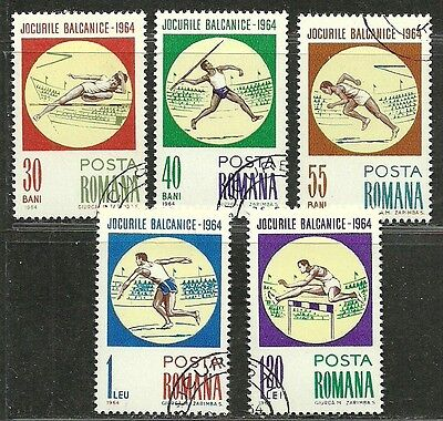 """Romania 1964 Amazing VF Used Hinged Stamps Set """"Summer Games"""""""