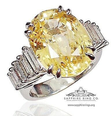 GIA Certified Platinum 14.17 tcw Yellow Oval Cut Natural Sapphire & Diamond Ring