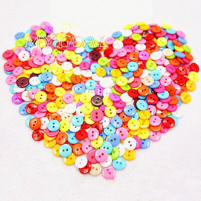 100PCs Round Candy Color Scrapbooking Embellishment Resin Sewing Buttons 2 Holes