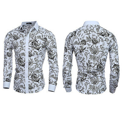Mens Fashion Slim Fit Floral Shirt Casual  Long Sleeve Dress Shirts Luxury Tops
