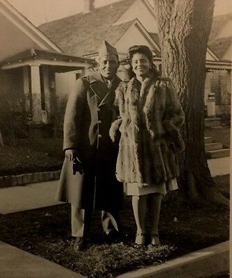 Vintage African American Military Man Pretty Girlfriend Photo Black Americana
