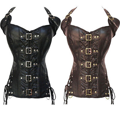 Sexy Black/Coffee Lace Up Underbust Steampunk Corset Top Faux Leather Bustier 2X