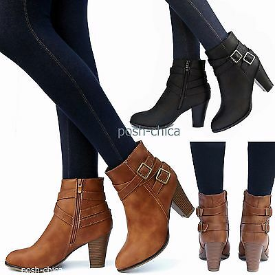 a41052fcfa619f New Women TCas Black Tan Taupe Strappy Buckle Ankle Booties Chunky Heel  Boots