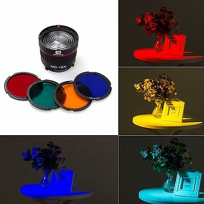Nanguang NG-10X Focus Lens Bowen Mount For Flash & Led Light,with 4 Color Filter