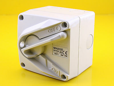 Clipsal WHA120 Surface Mount Weather Proof ON / OFF Isolating Switch 250Vac 20A