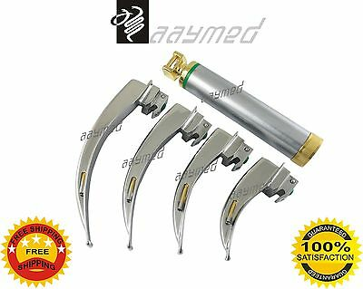 Fiber Optic Laryngoscope Set 4 Nos. MacIntosh LED Light Gold Serial EMS Supplies