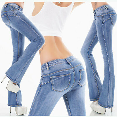 Womens New Boocut Jeans Light Blue Washed Stretch Denim Pants Size 6 8 10 12 14