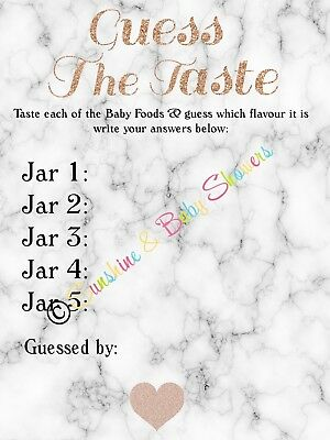 Marble & Rose gold Guess The Baby Food Baby Shower Game 10 20 30 Players!
