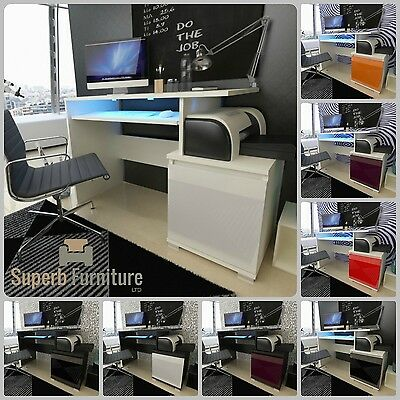Top Quality Superb Computer Office Desk + High Gloss Fronts + LED