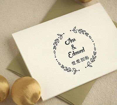 Personalized Mounted Wedding Laurel Custom Name Date Address Rubber Stamp R552