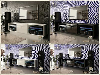 NEW! Superb TV Stand Unit Cabinet 140cm + Floating or Standing + Gloss + LED