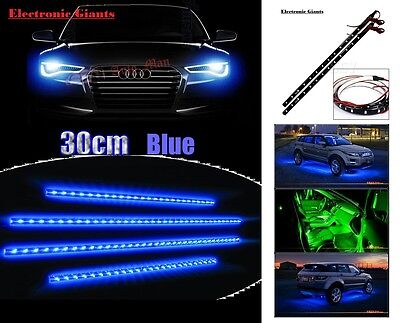 4x WATERPROOF 30 CM 3528 SMD BLUE 15 LED FLEXIBLE DRL STRIP LIGHT HOME CAR AUTO