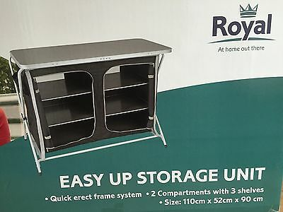 Royal Easy Up Folding Storage Unit Shelves Cupboard Camping Portable