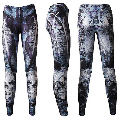 Gothic Purple Church Windows Fantasy Tattoo Skulls Halloween Leggings Goth Emo