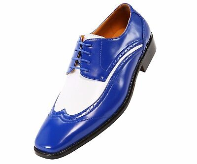 05fe1ade8921 BOLANO MENS TWO-TONE Royal and White Oxford Dress Shoe  Style P1056 ...