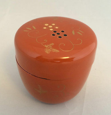 Vintage Japanese lacquer hand painted little box, dark orange/brown (D155)