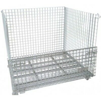 Foldable & Stackable Mesh Bin Basket Storage Container Heavy Duty Wire